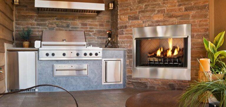 villa gas outdoor fireplace