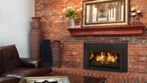 gas insert with brick hearth and surround