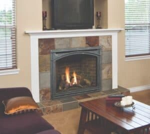 mission front gas fireplace