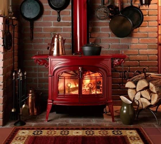 encore wood stove in bordeaux finish