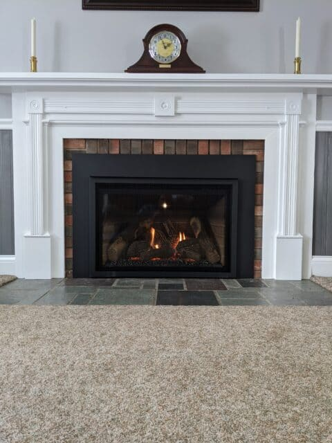 gas insert with classic white mantle