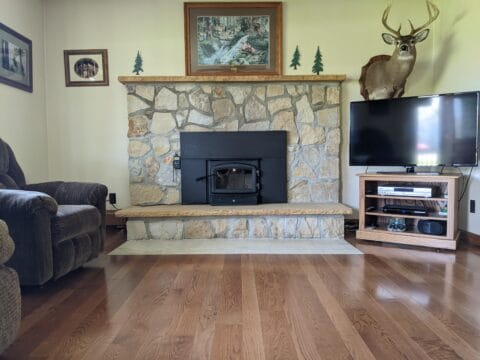 wood burning insert with stone hearth